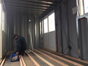 コンテナハウス内装工事床根太0127
