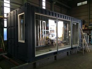 コンテナ美容室 ガラス取付20ft 千葉県八千代市