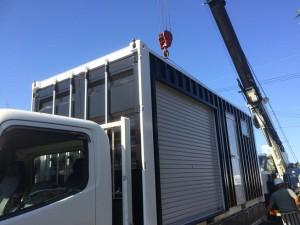 20ft新造コンテナ防災倉庫兼ガレージ設置