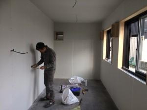 コンテナハウス調理場ケイカル板内装工事2019