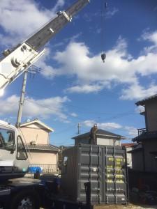 愛知県20ft8'6海上コンテナNEWVANグレー納品R201