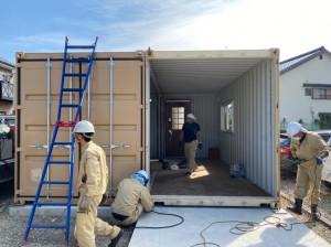 愛知県20ftハイキューブコンテナハウス設置連結202009